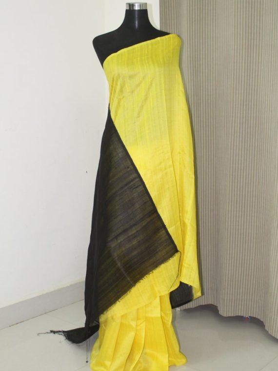 Beautiful Yellow Black Fusion Plain Tussar Raw Silk Saree