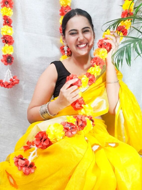 Bright Yellow Linen Embroidery Saree With Beautiful Butta Work