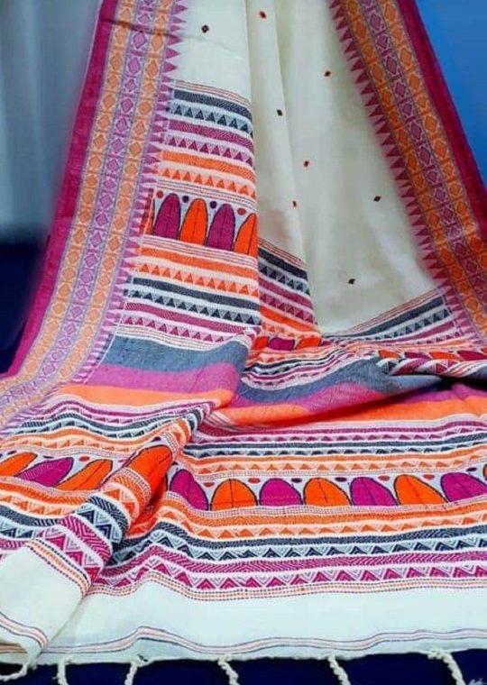 Charming White Khadi Saree With Pink Orange Designer Pallu