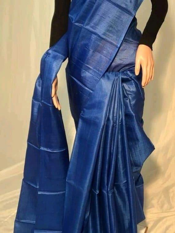 Dark Blue Plain Pure Tussar Silk Saree