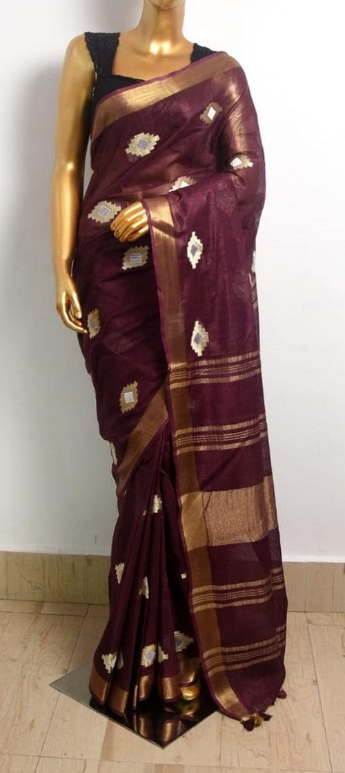 Dark Burgundy Linen Embroidery Saree With Beautiful Butta Work