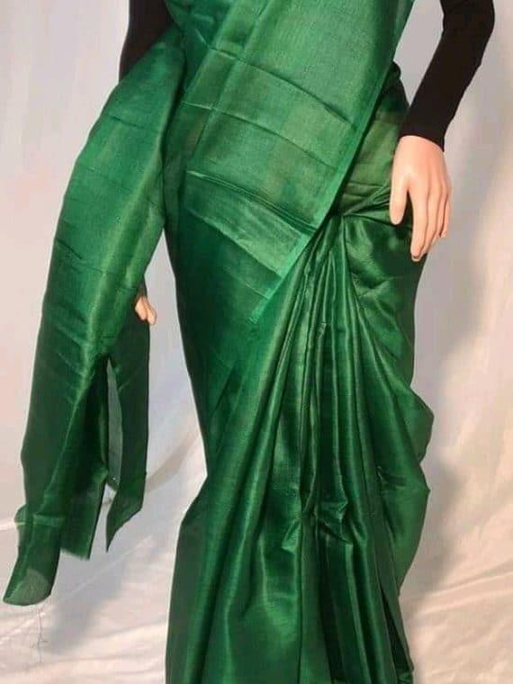Dark Green Plain Pure Tussar Silk Saree