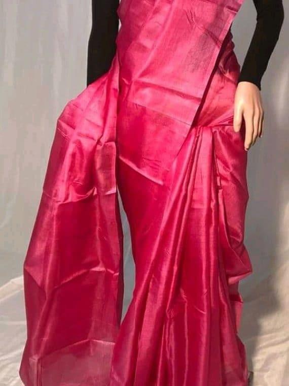 Dark Pink Plain Pure Tussar Silk Saree