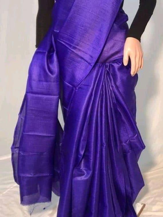 Dark Purple Plain Pure Tussar Silk Saree