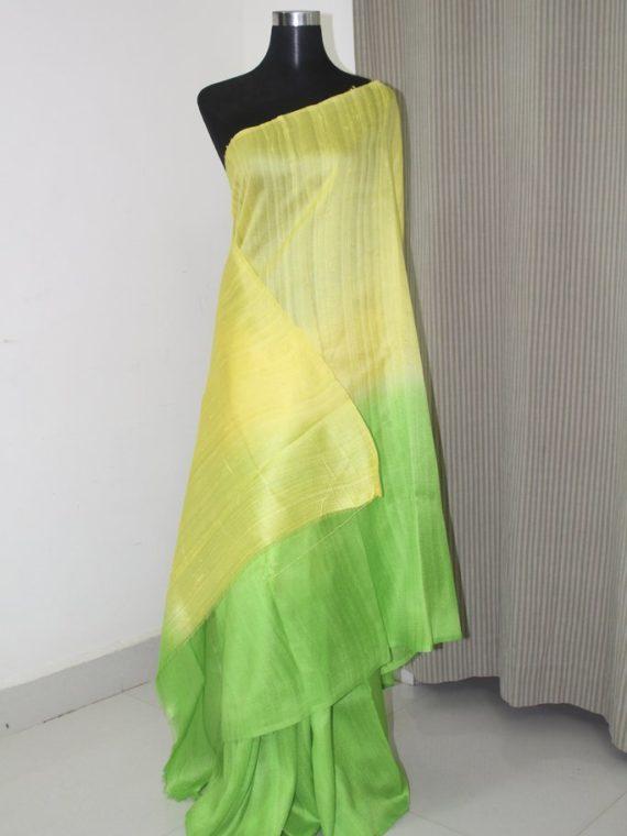 Elegant Yellow Green Blend Fusion Plain Tussar Raw Silk Saree