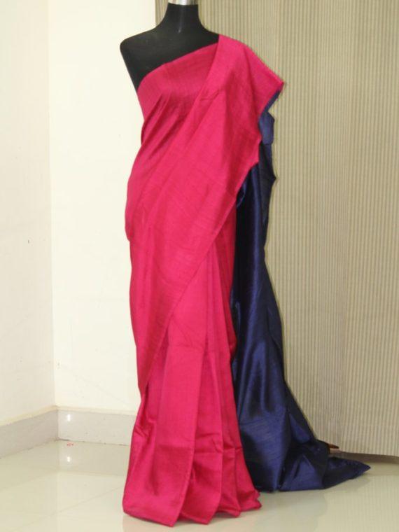 Enticing Dark Pink Violet Fusion Plain Tussar Raw Silk Saree