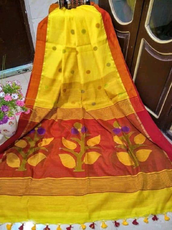 Enticing Yellow Red Ball Butti Cotton Silk Saree With Designer Pallu