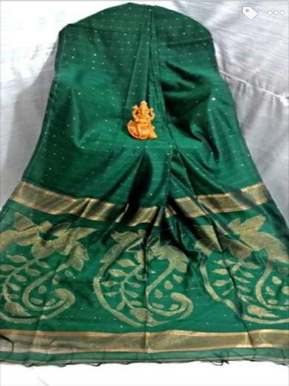 Lovely DarknGreen Sequins Cotton Silk Saree With Exclusively Designed Pallu