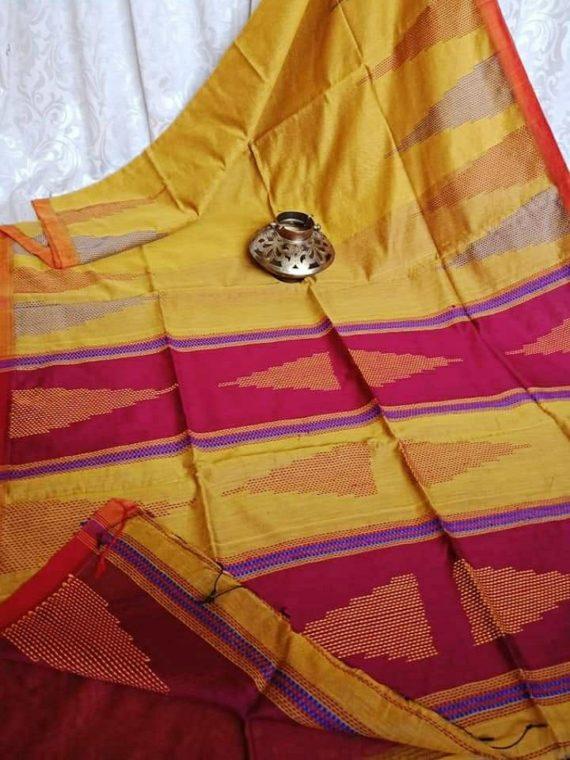 Mango Yellow Red Ikkat Design Cotton Silk Saree with Beautiful Pallu