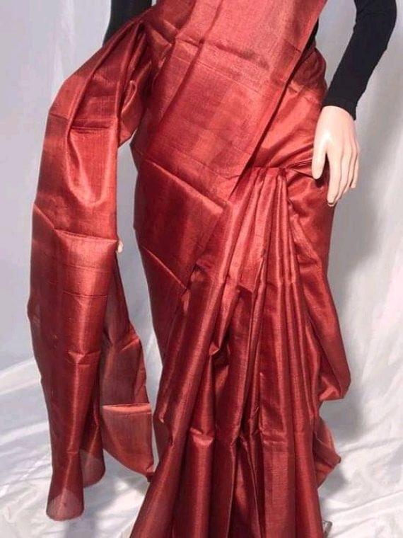 Maroon Plain Pure Tussar Silk Saree