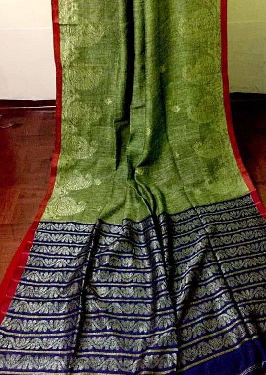 Marvellous mehendi Green Linen Saree with Mango Design Border