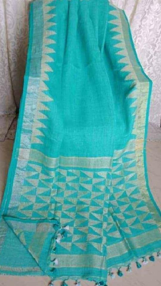 Mesmerizing Aqua Blue Linen Saree with Temple Border and Exclusive Designer Pallu