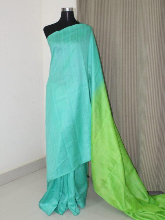 Mesmerizing Green Fusion Plain Tussar Raw Silk Saree