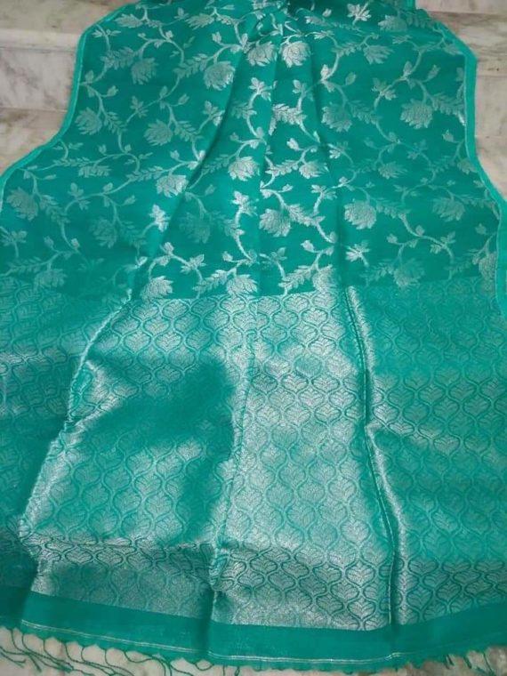 Mesmerizing Sea Green Handwoven Cotton Linen Jamdani Saree