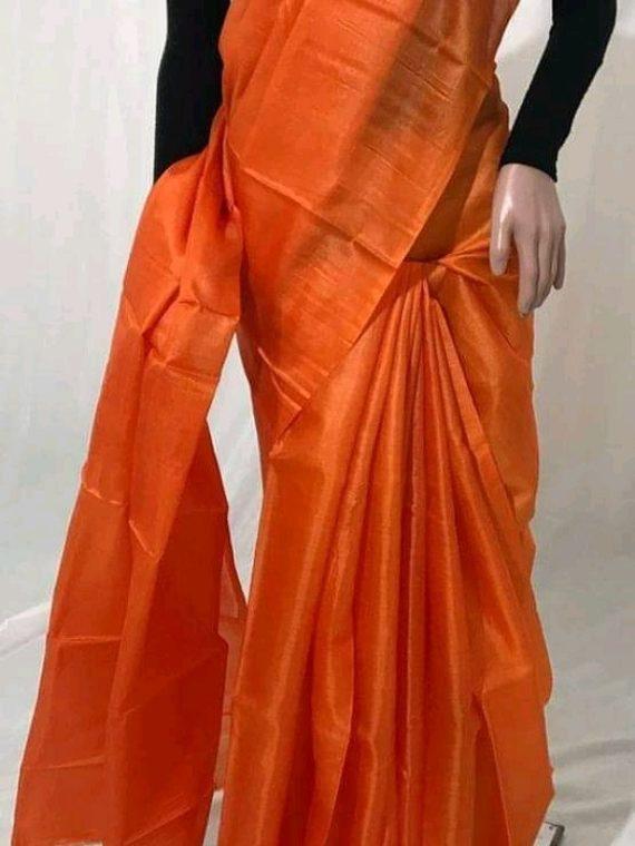 Orange Plain Pure Tussar Silk Saree