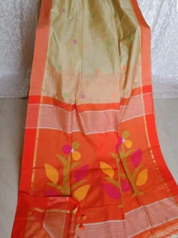 Pleasing Golden Cream Orange Ball Butti Cotton Silk Saree With Designer Pallu