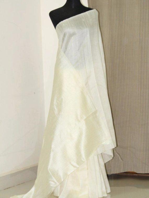 Pleasing Off White Pain Tussar Raw Silk Saree