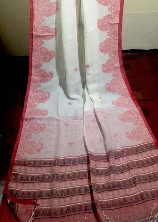 Pleasing White Linen Saree with Pink Mango Design Border
