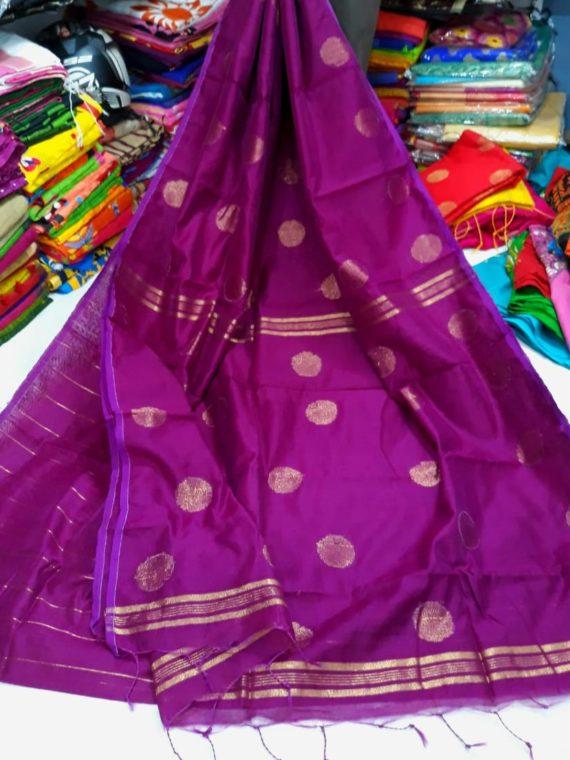 Purple Cotton Silk Golden Ball Butti Saree
