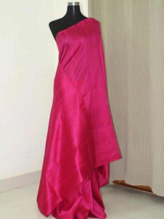 Ravishing Dark Pink Pain Tussar Raw Silk Saree