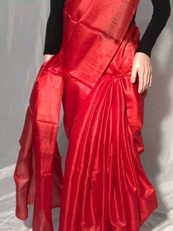 Red Plain Pure Tussar Silk Saree