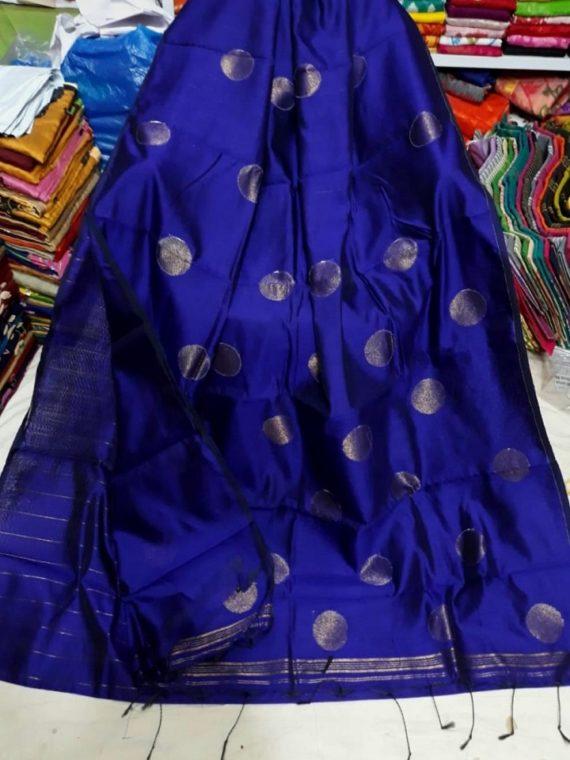 Royal Blue Cotton Silk Golden Ball Butti Saree