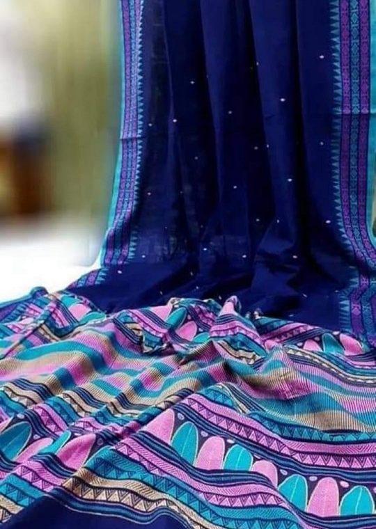 Strikingly Beautiful Dark Blue Khadi Saree With Designer Pallu
