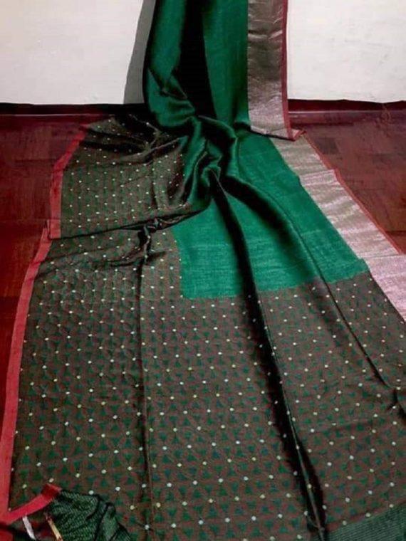 Stunning Green Cotton Linen Weave Saree With Exclusive Border Pallu