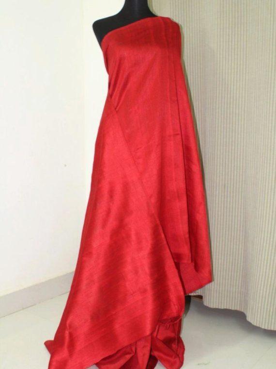 Stunning Red Pain Tussar Raw Silk Saree
