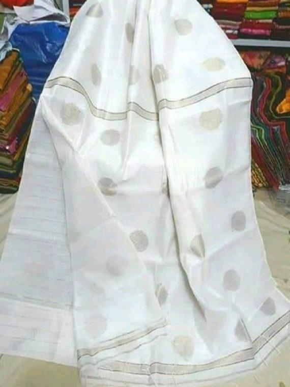 White Cotton Silk Golden Ball Butti Saree