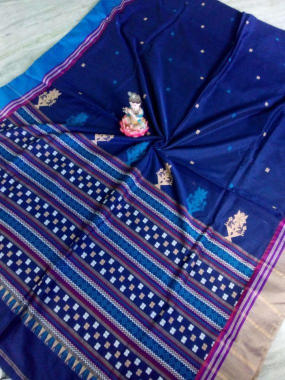 Beautiful Blue Small Butti Exclusive Khadi Saree with Blue Cream Border