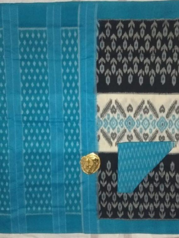 Black White Pochampally Ikkat Cotton Saree With Blue Border