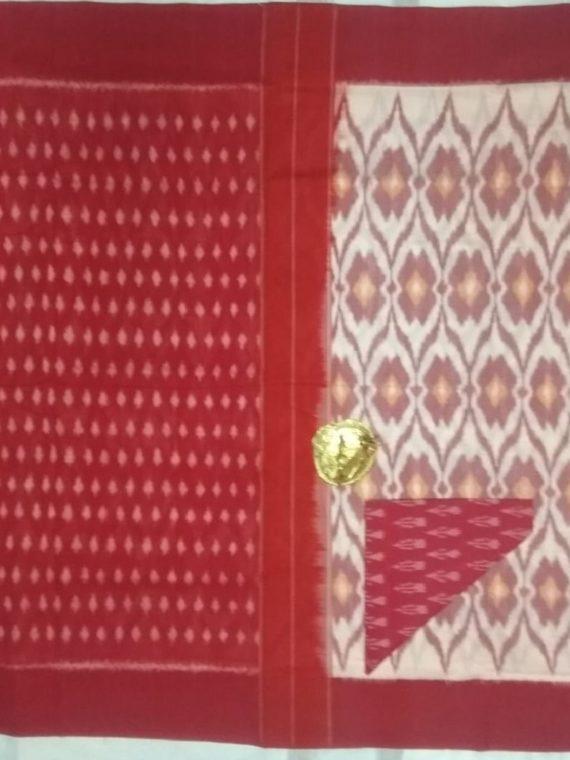 Charming White Pochampally Ikkat Cotton Saree With Red Border