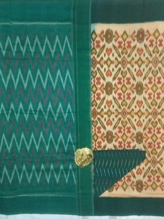 Cream Pochampally Ikkat Cotton Saree With Bottle Green Border