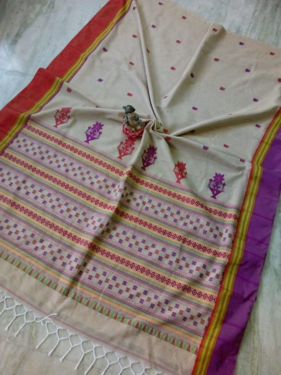 Cream Small Butti Exclusive Khadi Saree with Red Purple Border