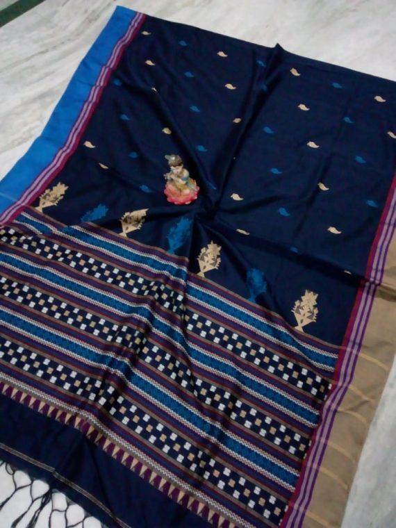 Dark Blue Small Butti Exclusive Khadi Saree with Blue Cream Border