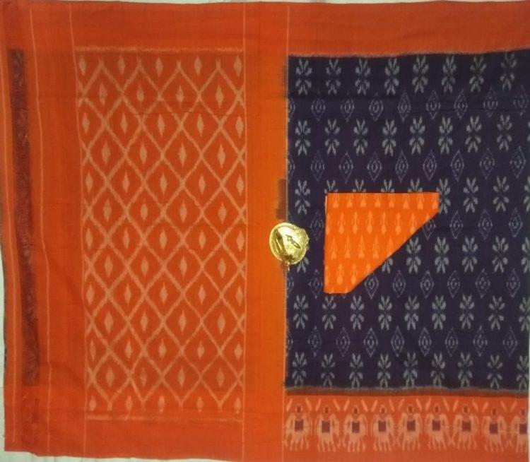 Dark Violet Pochampally Ikkat Cotton Saree With Orange Border