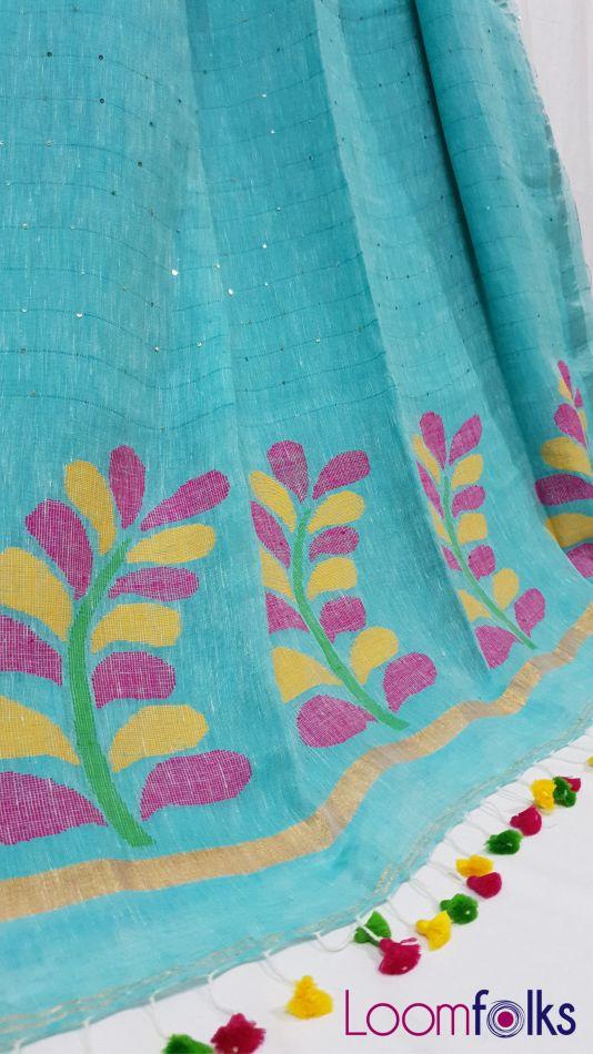 Enticing Sea Green Linen Sequin Saree with Artistically Handwoven Pallu-1