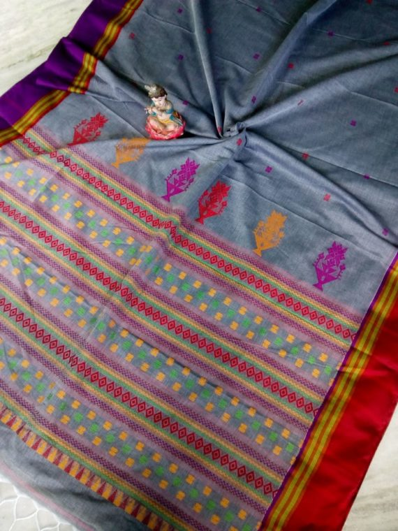 Gorgeous Grey Small Butti Exclusive Khadi Saree with Red Purple Border