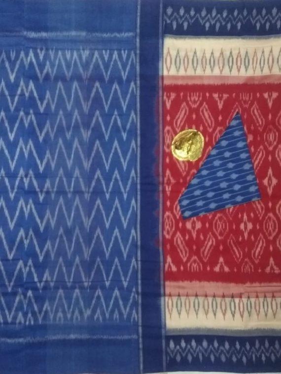 Gorgeous Red Pochampally Ikkat Cotton Saree With White Blue Border