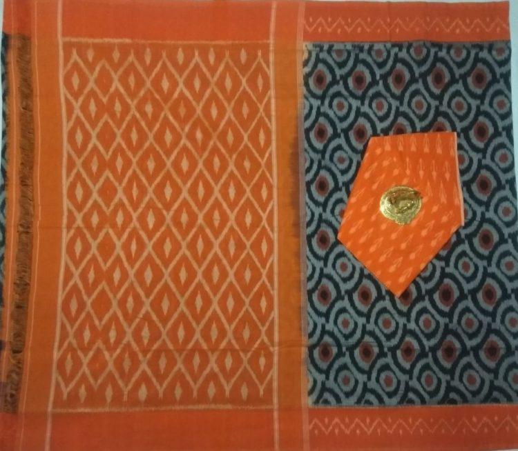 Grey Pochampally Ikkat Cotton Saree With Orange Border