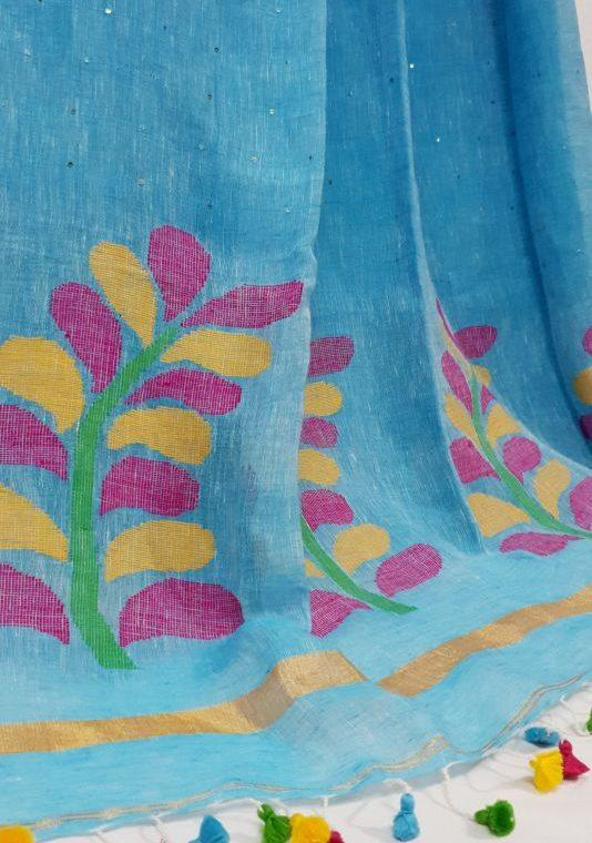 Mesmerising Blue Linen Sequin Saree with Artistically Handwoven Pallu-1