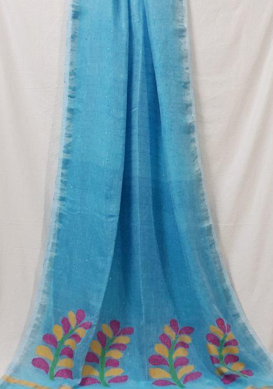 Mesmerising Blue Linen Sequin Saree with Artistically Handwoven Pallu