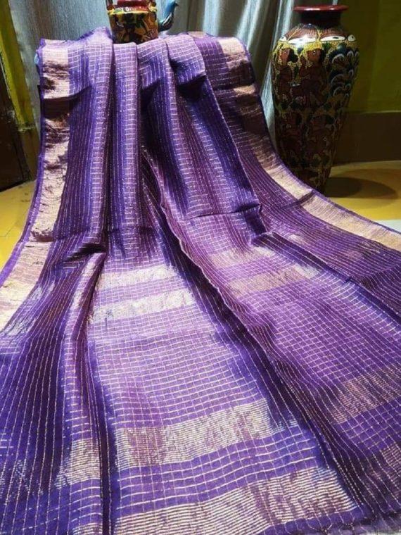 Mesmerizing Dark Purple Golden Check Linen Saree