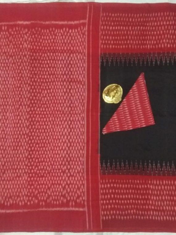 Perfect Black Pochampally Ikkat Cotton Saree With Red Border