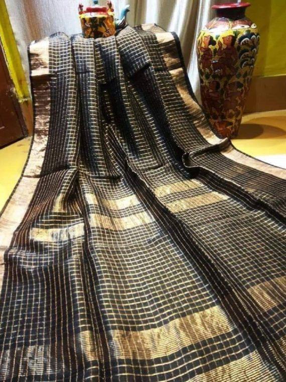 Ravishing Black Golden Check Linen Saree