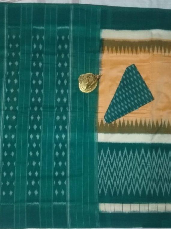 Sandalwood And Bottle Green Fusion Pochampally Ikkat Cotton Saree