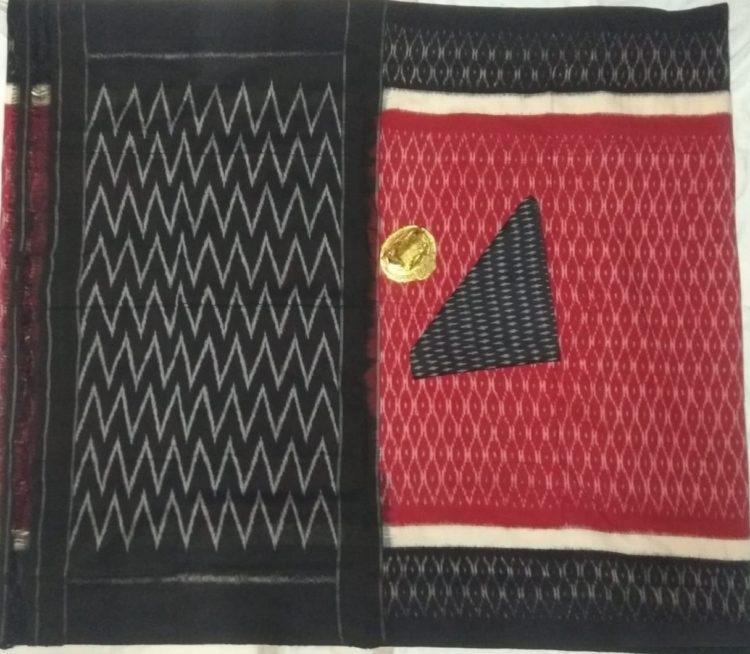 Subtle Red Pochampally Ikkat Cotton Saree With Black Border