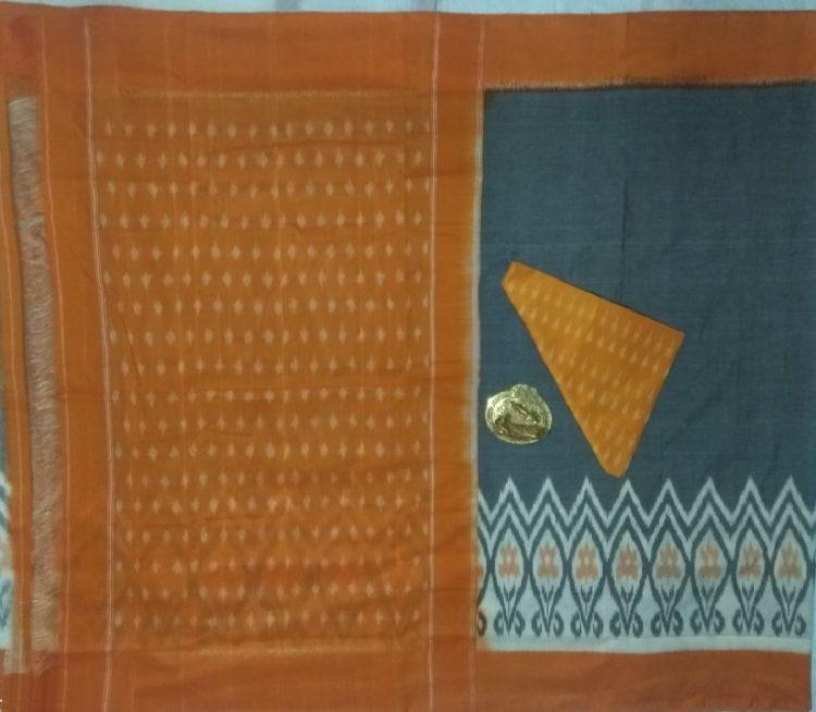 Teal Blue White Pochampally Ikkat Cotton Saree With Orange Border