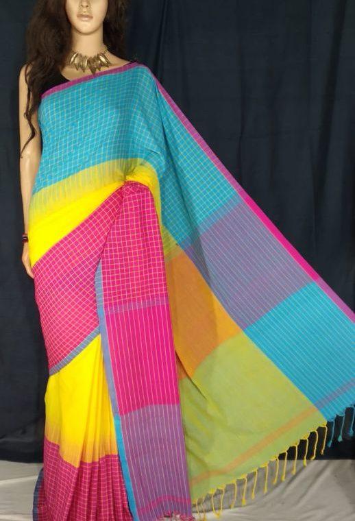 Aqua Blue Yellow Pink Fusion Khadi Check Saree
